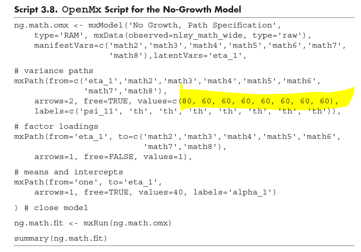Help in understanding notation for NO-GROWTH MODEL (OpenMx) and